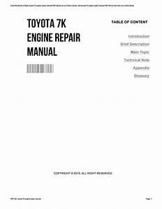 Toyota 7k Engine Repair Manual By Catherinehiggs1778