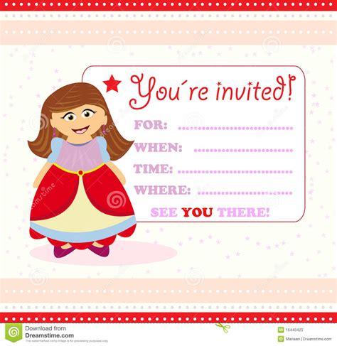 invitation card  princess stock  image