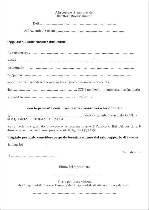 Lettere Dimissioni Volontarie by Dimissioni E Preavviso Uilm Provincia Di Cuneo