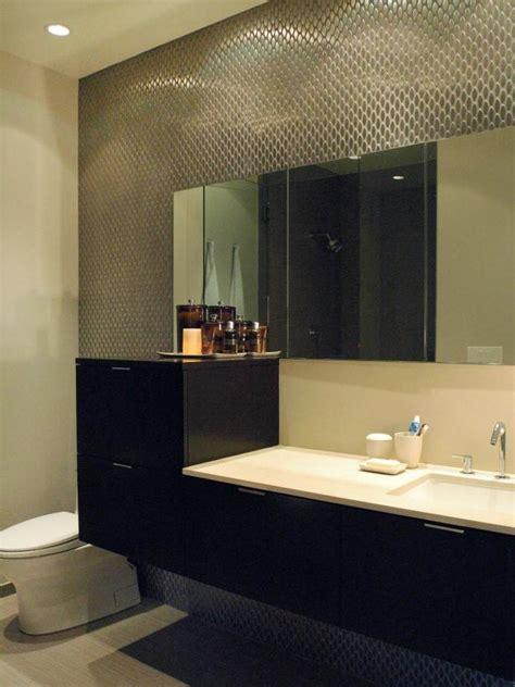 modern masculine bathroom  metal tile wall hgtv