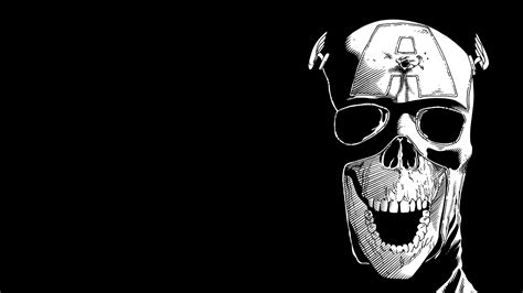 Anime Skull Wallpaper - captain america black bw skull hd wallpaper anime