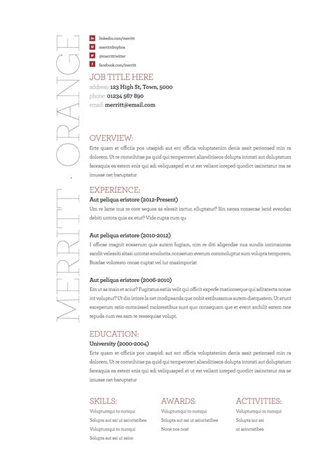 Many free word resume templates online come with shady advertisements. Merritt in orange. Available in three colours at www ...