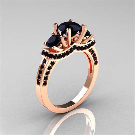 18k rose gold three stone black diamond wedding ring engagement ring r182 18krgbdd art