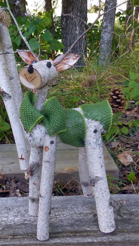 Garden Decoration Logs by Reindeer Birch Log Deer Garden Decor By