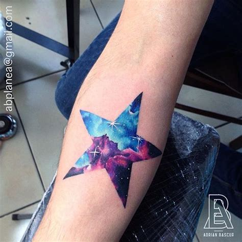 Watercolor Star Tattoo On Right Forearm