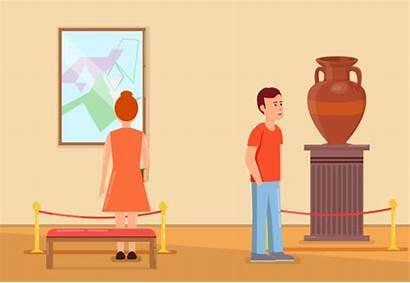 Museum Inside Vector Visitors Illustrations Clip