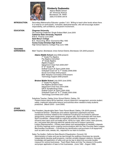 Math Tutor Resume Templates by Math Tutor Sle Resume Cover Letter Resumes