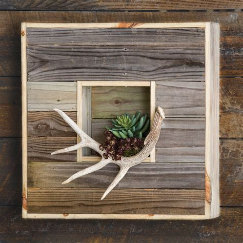 Reclaimed Wood & Antler Wall Art   OVERSTOCK