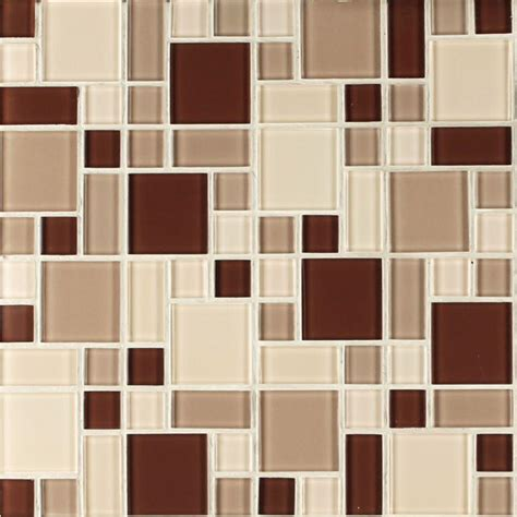 glass wall tile instant mosaic beige and brown 12 in x 12 in x 6 mm peel and stick glass mosaic wall tile ekb