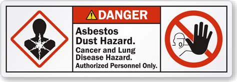 asbestos warning labels remind workers  wear ppe