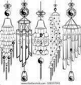 Chimes Wind Coloring Sketch Pages Template Templates Shutterstock sketch template