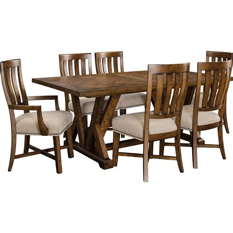 broyhill furniture pieceworks rustic 7 trestle table