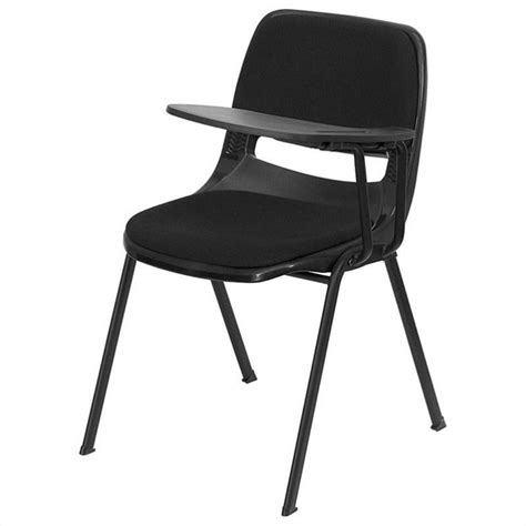 padded ergonomic shell stacking folding chair in black