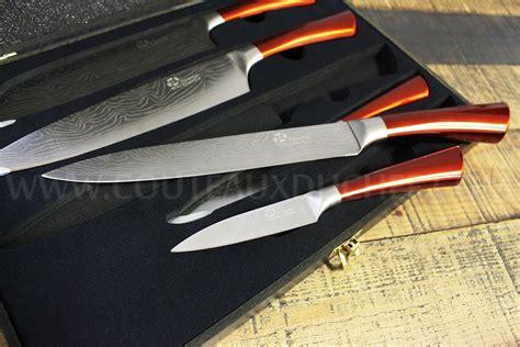 couteau de cuisine pradel coffret 5 couteaux de cuisine pradel effet damas