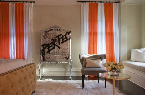 Orange And White Drapes Design Ideas