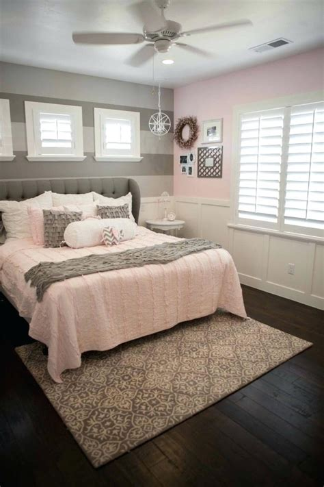 Fresh Light Pink And Grey Bedroom With Grey Bedroom #6207