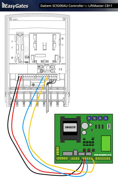 Sommer Garage Door Opener Wiring Diagram by Daitem Sc9200au Controller To Liftmaster Cb11