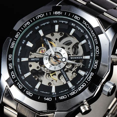 winner  fashion automatic mechanical men watches tachymeter skeleton dial stainless