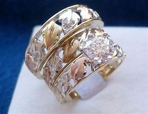 10k solid tri color gold his her 3 piece wedding With 3 piece wedding ring sets for her