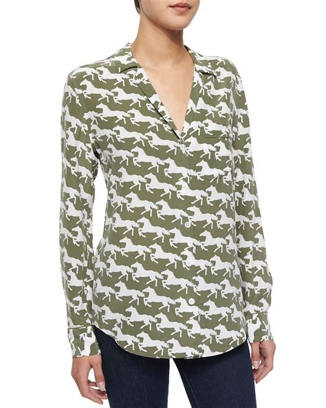 equipment silk blouse equipment keira printed silk blouse in green lyst