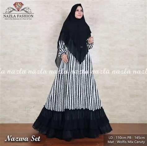 Nazla Dress nazla fashion baju muslimah gamis cantik salur hitam