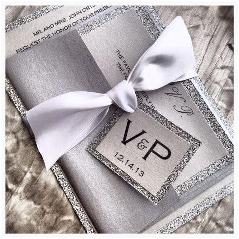 wedding invitation silver  white invitation wedding