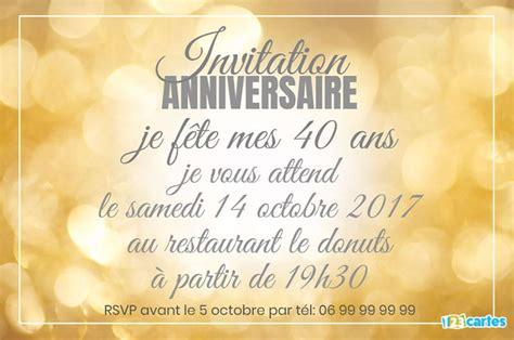 Invitation Anniversaire 40 Ans Bokeh Or