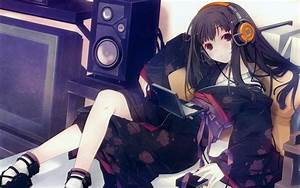 Headphones dress red eyes lying down anime girls wallpaper ...