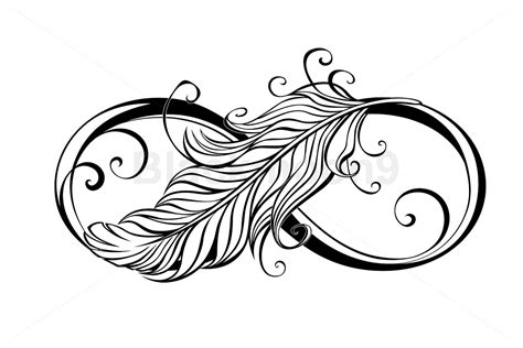 infinity symbol  feather