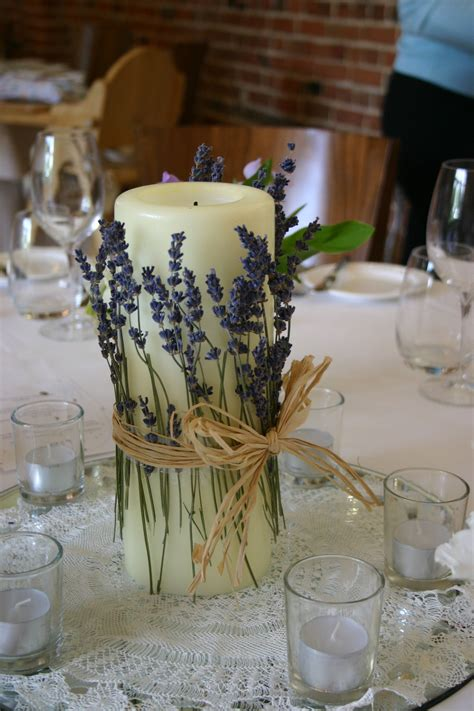 table decorations candles simple table centre idea wrapping dried lavender around a