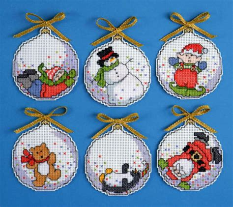 bubbles counted cross stitch ornaments christmas kit set