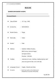 Sle Resume In Word Format by Biodata Format For Marriage Marriage