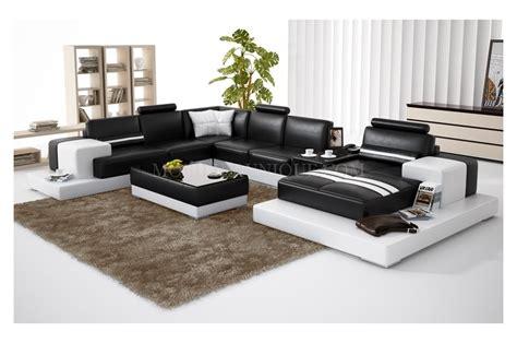 canapé deux angles canapé d 39 angle panoramique en cuir en deux teintes modèle
