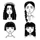 cabelo longo do da mulher da forma ilustra 231 227 o do vetor ilustra 231 227 o de retrato vestido