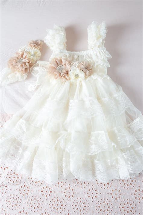 shabby chic baby dress ivory chiffon flower girl dress ivory lace baby doll dress rustic flower girl dresses vintage