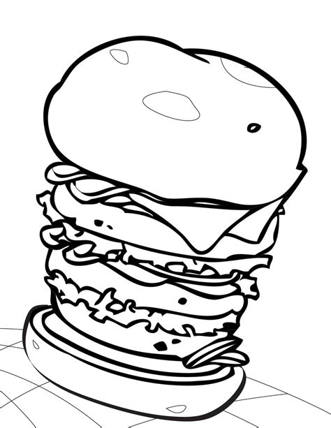 Kleurplaat Hamburger by Hamburger Coloring Pages Getcoloringpages