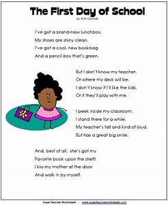 First Day of School Poem | Back-to-School - Super Teacher ...