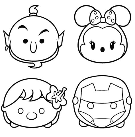 printable disney tsum tsum coloring sheet  kids