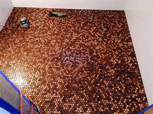 mosaic tile designs bathroom pictures of pennies installed as mosaic tile sheets on wall floor backsplash