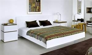Lit double blanc avec tte de lit design float lit blanc for Suspension chambre enfant avec matelas 160x200 haut de gamme