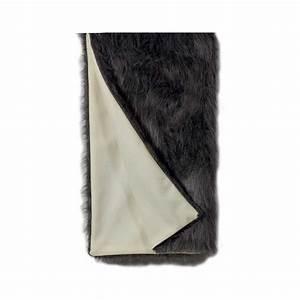 Plaid Fourrure Blanc : plaid prestige en laine blanc et fausse fourrure grise ~ Nature-et-papiers.com Idées de Décoration