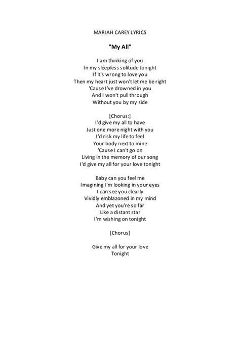 not lagu my love mariah carey lyrics