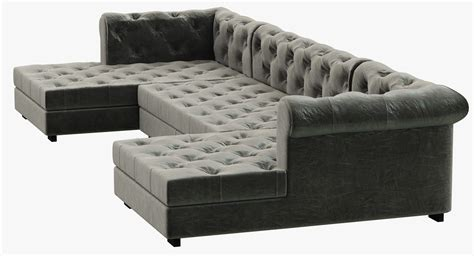 chaise chesterfield rh modern modena chesterfield leather u chaise sectional 3d model max obj 3ds fbx mtl cgtrader com