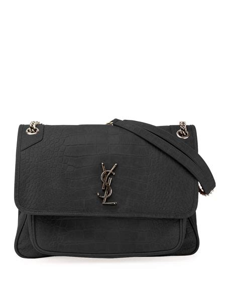 saint laurent niki monogram ysl large crocodile embossed