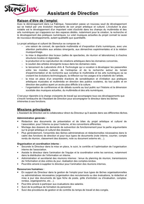 fiche de poste secretaire de direction stereolux offre d emploi d assistant de direction