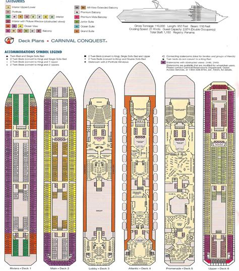 Carnival Conquest Deck Plan by Carnival Conquest Deck Plan