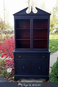 Sold, Antique, Shabby, Chic, Midnight, Navy, Blue, China, Cabinet