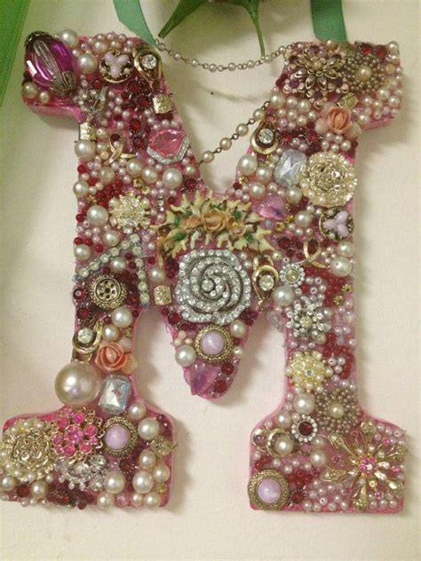 personalized jeweled letter  etsy price negotiable great craft ideas pinterest etsy
