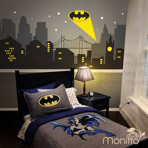 gotham city batman light cityscape wall decal stickers wallpaper decal study room