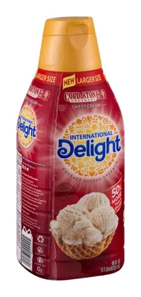 One serving of international delight french vanilla coffee creamer has 45 calories with a total fat content of 2g, no cholesterol and 5mg of sodium. International Delight Cold Stone Creamery Sweet Cream Gourmet Coffee Creamer 48 fl. oz. Bottle ...